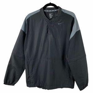 Nike Windbreaker Jacket Gray Black Zip Off Sleeves